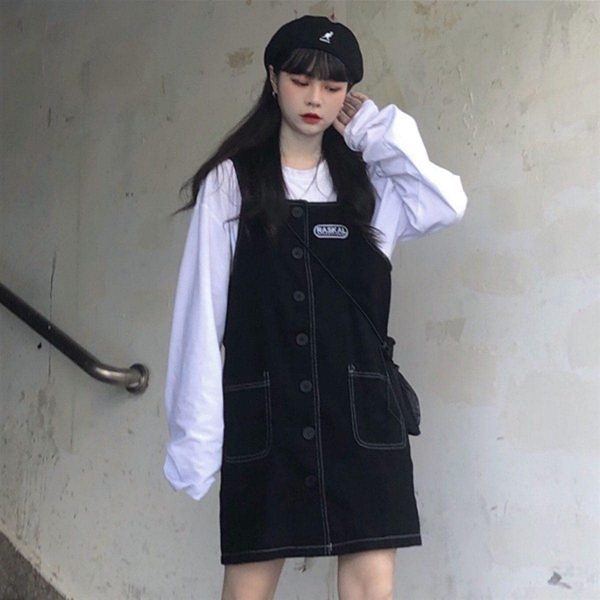 Black Strap Skirt Romper With Buttons 4 - My Sweet Outfit - EGirl Outfits - Soft Girl Clothes Aesthetic - Grunge Korean Fashion Tumblr Hip Emo Rap