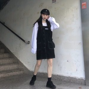 Black Strap Skirt Romper With Buttons (5) - My Sweet Outfit - EGirl Outfits - Soft Girl Clothes Aesthetic - Grunge Korean Fashion Tumblr Hip Emo Rap