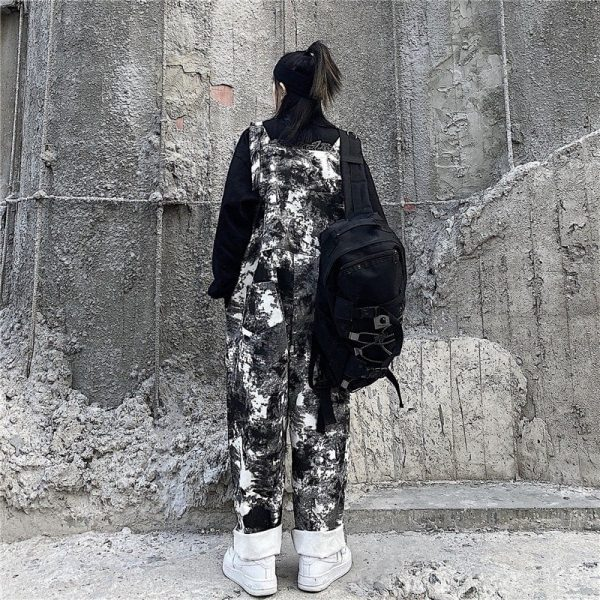 Black Tie Dye Straight Trouser Jumpsuit (1) - My Sweet Outfit - EGirl Outfits - Soft Girl Clothes Aesthetic - Grunge Korean Fashion Tumblr Hip Emo Rap