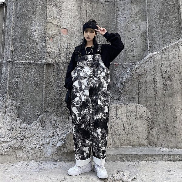 Black Tie Dye Straight Trouser Jumpsuit (2) - My Sweet Outfit - EGirl Outfits - Soft Girl Clothes Aesthetic - Grunge Korean Fashion Tumblr Hip Emo Rap