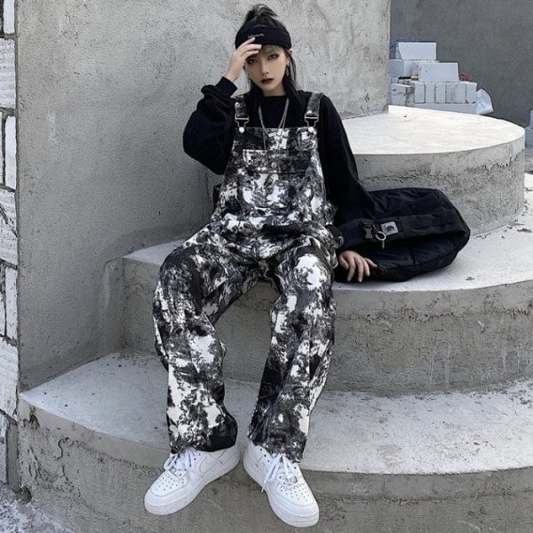 Black Tie Dye Straight Trouser Jumpsuit (3) - My Sweet Outfit - EGirl Outfits - Soft Girl Clothes Aesthetic - Grunge Korean Fashion Tumblr Hip Emo Rap