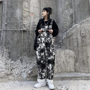Black Tie Dye Straight Trouser Jumpsuit (4) - My Sweet Outfit - EGirl Outfits - Soft Girl Clothes Aesthetic - Grunge Korean Fashion Tumblr Hip Emo Rap