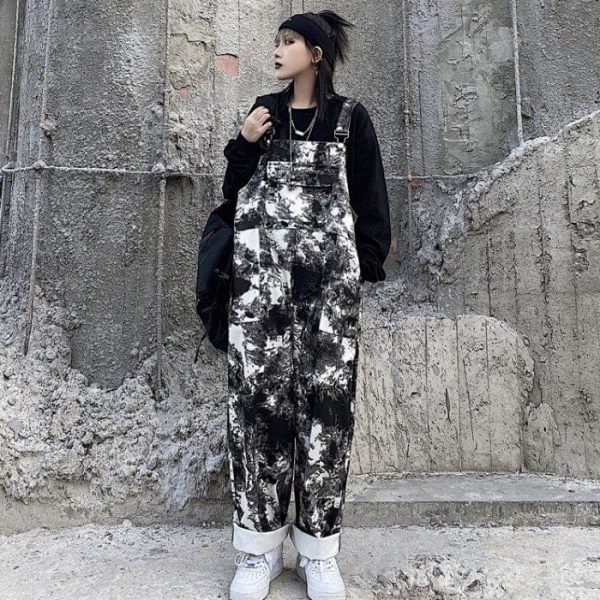 Black Tie Dye Straight Trouser Jumpsuit (5) - My Sweet Outfit - EGirl Outfits - Soft Girl Clothes Aesthetic - Grunge Korean Fashion Tumblr Hip Emo Rap