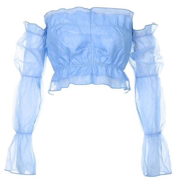 Blue Small Pleated Puff Sleeve Blouse 4 - My Sweet Outfit - EGirl Outfits - Soft Girl Clothes Aesthetic - Grunge Korean Fashion Tumblr Hip Emo Rap