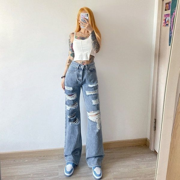 Blue Straight Loose Casual Cut Jeans 1 - My Sweet Outfit - EGirl Outfits - Soft Girl Clothes Aesthetic - Grunge Korean Fashion Tumblr Hip Emo Rap Trap (1)