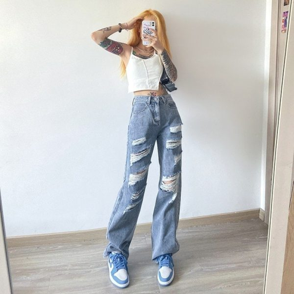 Blue Straight Loose Casual Cut Jeans 1 - My Sweet Outfit - EGirl Outfits - Soft Girl Clothes Aesthetic - Grunge Korean Fashion Tumblr Hip Emo Rap Trap (2)