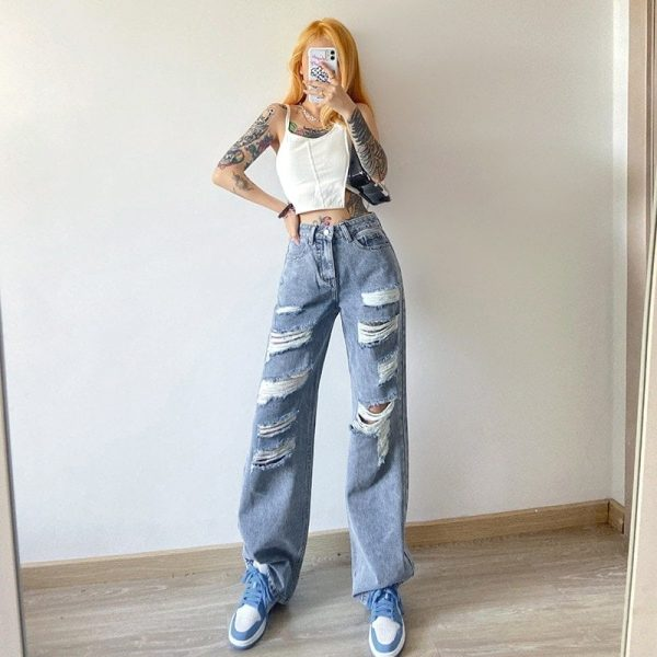 Blue Straight Loose Casual Cut Jeans 1 - My Sweet Outfit - EGirl Outfits - Soft Girl Clothes Aesthetic - Grunge Korean Fashion Tumblr Hip Emo Rap Trap (3)