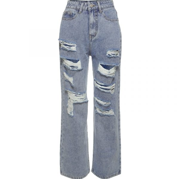 Blue Straight Loose Casual Cut Jeans 1 - My Sweet Outfit - EGirl Outfits - Soft Girl Clothes Aesthetic - Grunge Korean Fashion Tumblr Hip Emo Rap Trap (4)