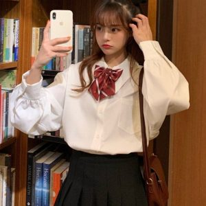Bow Fastener Loose Lapel Princess Blouse 2 - My Sweet Outfit - EGirl Outfits - Soft Girl Clothes Aesthetic - Grunge Korean Fashion Tumblr Hip Emo Rap