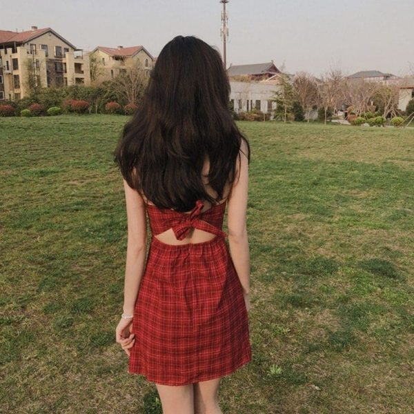 Buttoned Cut Out Back Plaid Dress (8) - My Sweet Outfit - EGirl Outfits - Soft Girl Clothes Aesthetic - Grunge Korean Fashion Tumblr Hip Emo Rap