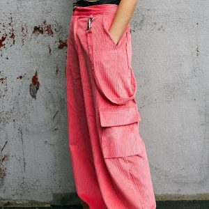 Casual Corduroy Side Pockets Straight Pants 3 - My Sweet Outfit - EGirl Outfits - Soft Girl Clothes Aesthetic - Grunge Korean Fashion Tumblr Hip Emo Rap Trap
