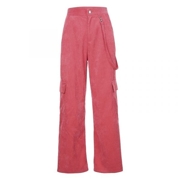 Casual Corduroy Side Pockets Straight Pants 4 - My Sweet Outfit - EGirl Outfits - Soft Girl Clothes Aesthetic - Grunge Korean Fashion Tumblr Hip Emo Rap Trap