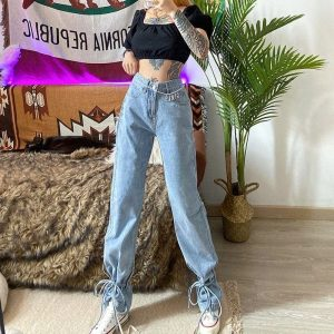 Casual Retro Ankle Straps Blue Jeans 4 - My Sweet Outfit - EGirl Outfits - Soft Girl Clothes Aesthetic - Grunge Fashion Tumblr Hip Emo Trap