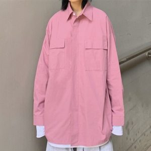 Chest Pockets Loose Pink Shirt 4 - My Sweet Outfit - EGirl Outfits - Soft Girl Clothes Aesthetic - Grunge Korean Fashion Tumblr Hip Emo Rap