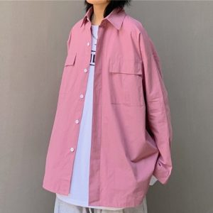Chest Pockets Loose Pink Shirt 5 - My Sweet Outfit - EGirl Outfits - Soft Girl Clothes Aesthetic - Grunge Korean Fashion Tumblr Hip Emo Rap