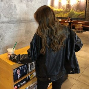 Classic BF Biker Loose Zipper Jacket (1) - My Sweet Outfit - EGirl Outfits - Soft Girl Clothes Aesthetic - Grunge Korean Fashion Tumblr Hip Emo Rap