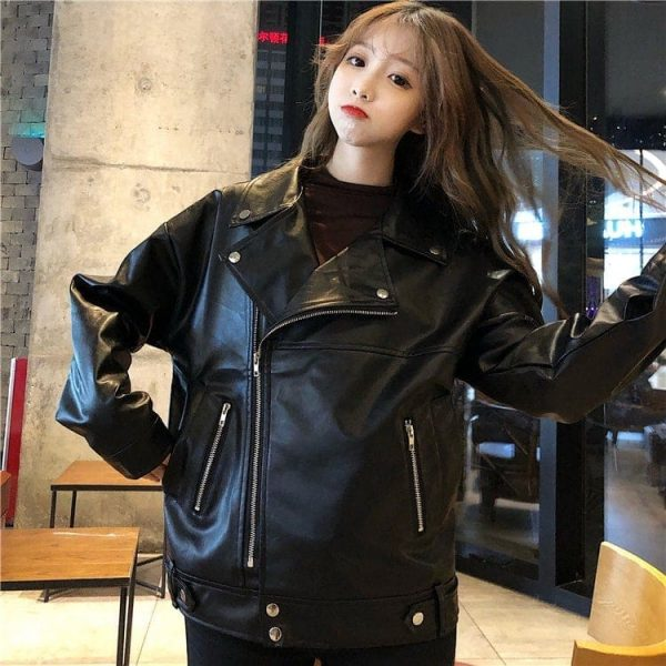 Classic BF Biker Loose Zipper Jacket (2) - My Sweet Outfit - EGirl Outfits - Soft Girl Clothes Aesthetic - Grunge Korean Fashion Tumblr Hip Emo Rap