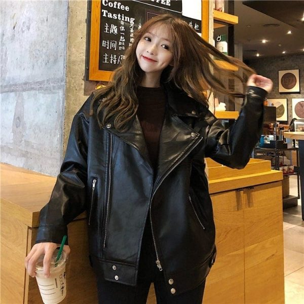 Classic BF Biker Loose Zipper Jacket (3) - My Sweet Outfit - EGirl Outfits - Soft Girl Clothes Aesthetic - Grunge Korean Fashion Tumblr Hip Emo Rap
