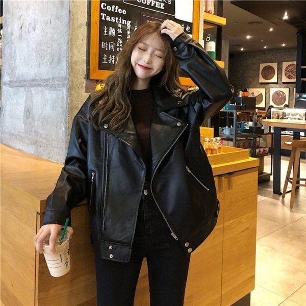 Classic BF Biker Loose Zipper Jacket (4) - My Sweet Outfit - EGirl Outfits - Soft Girl Clothes Aesthetic - Grunge Korean Fashion Tumblr Hip Emo Rap