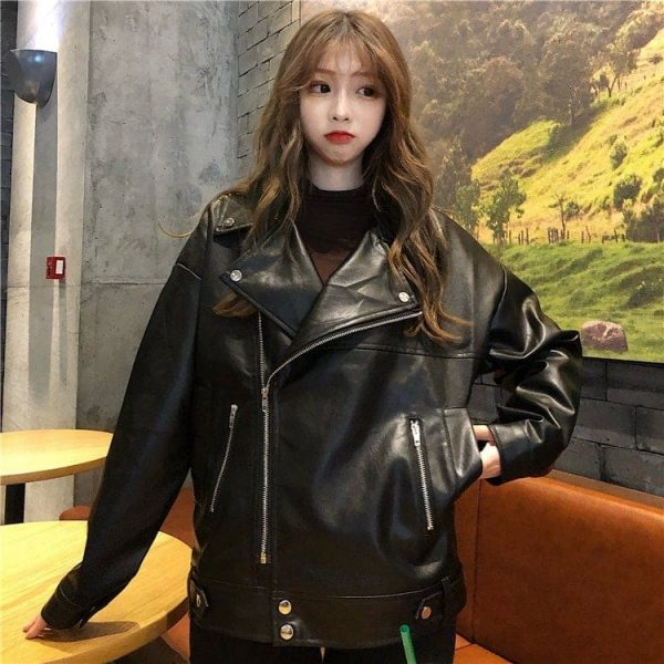 Classic BF Biker Loose Zipper Jacket (5) - My Sweet Outfit - EGirl Outfits - Soft Girl Clothes Aesthetic - Grunge Korean Fashion Tumblr Hip Emo Rap
