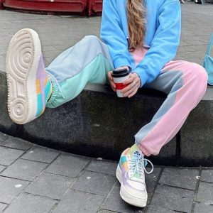 Contrast Color Classic Jogger Pants 2 - My Sweet Outfit - EGirl Outfits - Soft Girl Clothes Aesthetic - Grunge Korean Fashion Tumblr Hip Emo Rap
