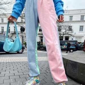 Contrast Color Classic Jogger Pants 4 - My Sweet Outfit - EGirl Outfits - Soft Girl Clothes Aesthetic - Grunge Korean Fashion Tumblr Hip Emo Rap
