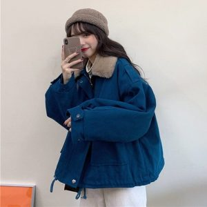 Cotton Padded Big Fur Collar Jacket (4) - My Sweet Outfit - EGirl Outfits - Soft Girl Clothes Aesthetic - Grunge Korean Fashion Tumblr Hip Emo Rap