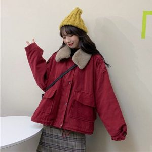 Cotton Padded Big Fur Collar Jacket (5) - My Sweet Outfit - EGirl Outfits - Soft Girl Clothes Aesthetic - Grunge Korean Fashion Tumblr Hip Emo Rap
