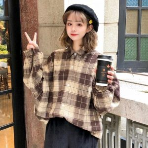 Country Oversized Long Sleeve Shirt 2 - My Sweet Outfit - EGirl Outfits - Soft Girl Clothes Aesthetic - Grunge Korean Fashion Tumblr Hip Emo Rap