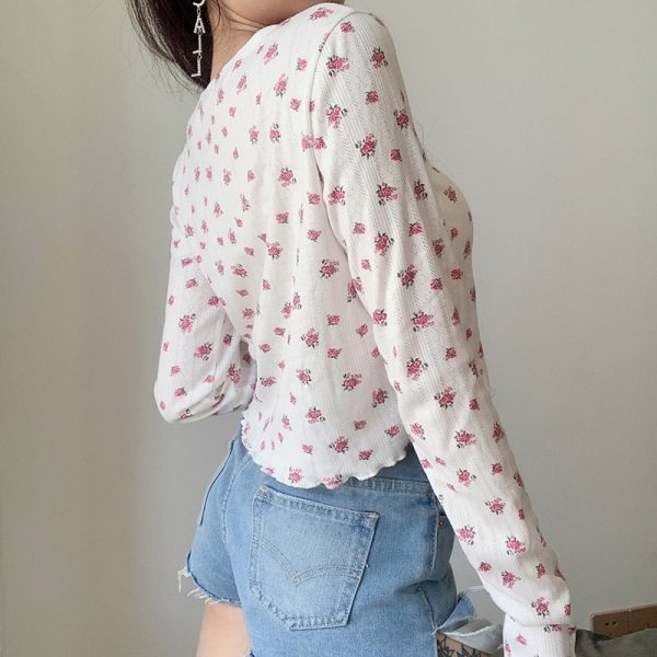 Cute Floral Long Sleeve Shirt 2 - My Sweet Outfit - EGirl Outfits - Soft Girl Clothes Aesthetic - Grunge Korean Fashion Tumblr Hip Emo Rap