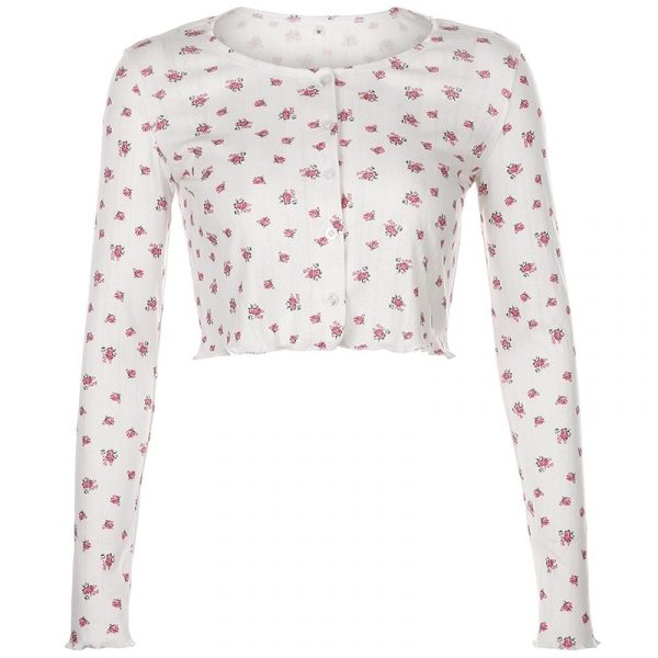 Cute Floral Long Sleeve Shirt 4 - My Sweet Outfit - EGirl Outfits - Soft Girl Clothes Aesthetic - Grunge Korean Fashion Tumblr Hip Emo Rap