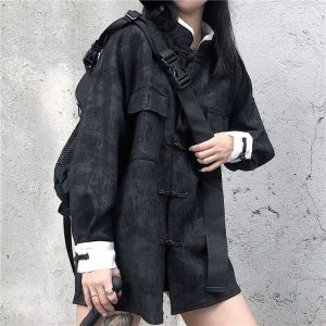 Dark Chinese Style Buckle Shirt 2 - My Sweet Outfit - EGirl Outfits - Soft Girl Clothes Aesthetic - Grunge Korean Fashion Tumblr Hip Emo Rap