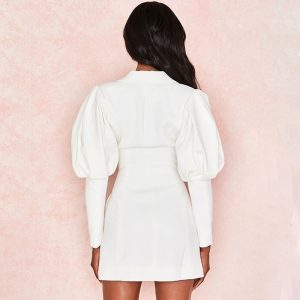 Deep Neckline Puffy Sleeves Jacket Dress (4) - My Sweet Outfit - EGirl Outfits - Soft Girl Clothes Aesthetic - Grunge Korean Fashion Tumblr Hip Emo Rap