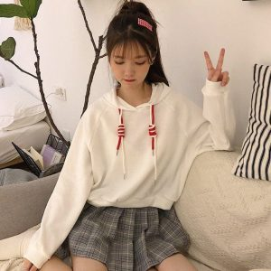 Double Laces Solid Color Short Hoodie 3 - My Sweet Outfit - EGirl Outfits - Soft Girl Clothes Aesthetic - Grunge Korean Fashion Tumblr Hip Emo Rap