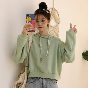 Double Laces Solid Color Short Hoodie 5 - My Sweet Outfit - EGirl Outfits - Soft Girl Clothes Aesthetic - Grunge Korean Fashion Tumblr Hip Emo Rap