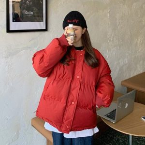 Elastic Bands Sleeves Plain Padded Jacket 4 - My Sweet Outfit - EGirl Outfits - Soft Girl Clothes Aesthetic - Grunge Korean Fashion Tumblr Hip Emo Rap