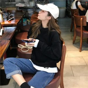 Fake Two Piece Large Sweatshirt 4 - My Sweet Outfit - EGirl Outfits - Soft Girl Clothes Aesthetic - Grunge Korean Fashion Tumblr Hip Emo Rap