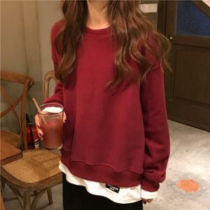 Fake Two Piece Large Sweatshirt 5 - My Sweet Outfit - EGirl Outfits - Soft Girl Clothes Aesthetic - Grunge Korean Fashion Tumblr Hip Emo Rap