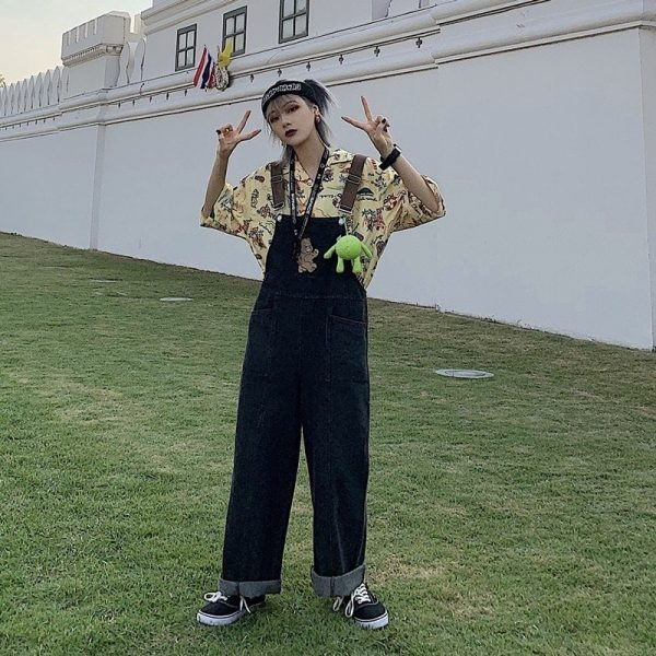 Funny Bear Embroidery Loose Romper (4) - My Sweet Outfit - EGirl Outfits - Soft Girl Clothes Aesthetic - Grunge Korean Fashion Tumblr Hip Emo Rap