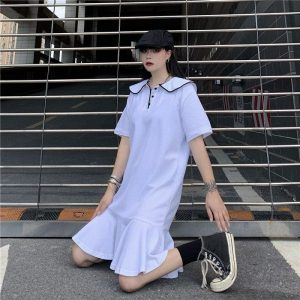 Funny Bunny Collar Pleated Polo Dress - My Sweet Outfit - EGirl Outfits - Soft Girl Clothes Aesthetic - Grunge Korean Fashion Tumblr Hip Emo Rap (1)