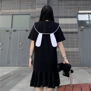 Funny Bunny Collar Pleated Polo Dress - My Sweet Outfit - EGirl Outfits - Soft Girl Clothes Aesthetic - Grunge Korean Fashion Tumblr Hip Emo Rap (4)