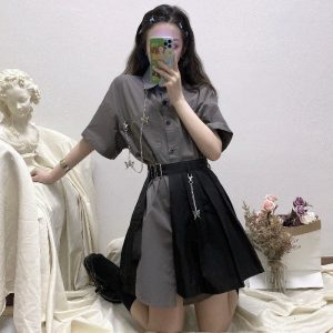 Gray Mid Length Wide Collar Dress - My Sweet Outfit - EGirl Outfits - Soft Girl Clothes Aesthetic - Grunge Korean Fashion Tumblr Hip Emo Rap (1)