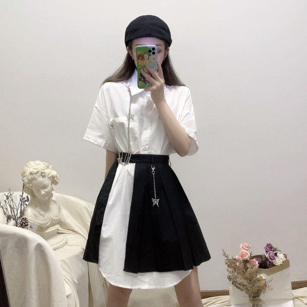 Gray Mid Length Wide Collar Dress - My Sweet Outfit - EGirl Outfits - Soft Girl Clothes Aesthetic - Grunge Korean Fashion Tumblr Hip Emo Rap (2)
