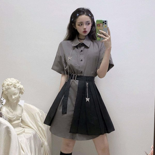 Gray Mid Length Wide Collar Dress - My Sweet Outfit - EGirl Outfits - Soft Girl Clothes Aesthetic - Grunge Korean Fashion Tumblr Hip Emo Rap (3)