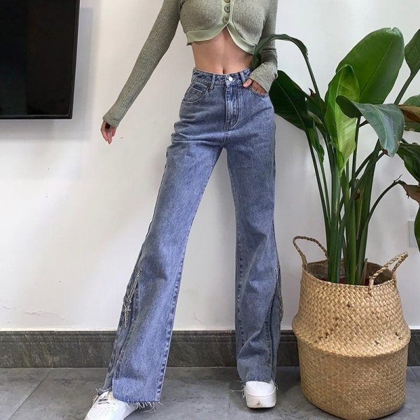 High Waisted Flared Split Long Jeans 2 - My Sweet Outfit - EGirl Outfits - Soft Girl Clothes Aesthetic - Grunge Korean Fashion Tumblr Hip Emo Rap Trap