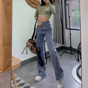 High Waisted Flared Split Long Jeans 4 - My Sweet Outfit - EGirl Outfits - Soft Girl Clothes Aesthetic - Grunge Korean Fashion Tumblr Hip Emo Rap Trap