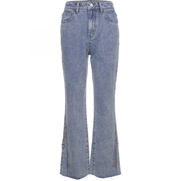 High Waisted Flared Split Long Jeans 5 - My Sweet Outfit - EGirl Outfits - Soft Girl Clothes Aesthetic - Grunge Korean Fashion Tumblr Hip Emo Rap Trap