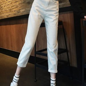 High Waisted Thin Nine Point Jeans 2 - My Sweet Outfit - EGirl Outfits - Soft Girl Clothes Aesthetic - Grunge Korean Fashion Tumblr Hip Emo Rap