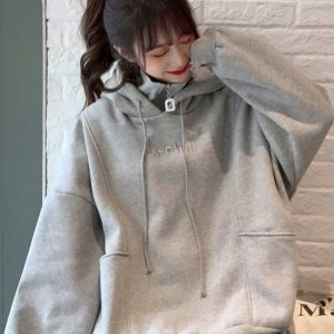 High Zip Collar Plus Size Thick Hoodie 1 - My Sweet Outfit - EGirl Outfits - Soft Girl Clothes Aesthetic - Grunge Korean Fashion Tumblr Hip Emo Rap