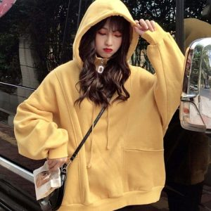 High Zip Collar Plus Size Thick Hoodie 3 - My Sweet Outfit - EGirl Outfits - Soft Girl Clothes Aesthetic - Grunge Korean Fashion Tumblr Hip Emo Rap